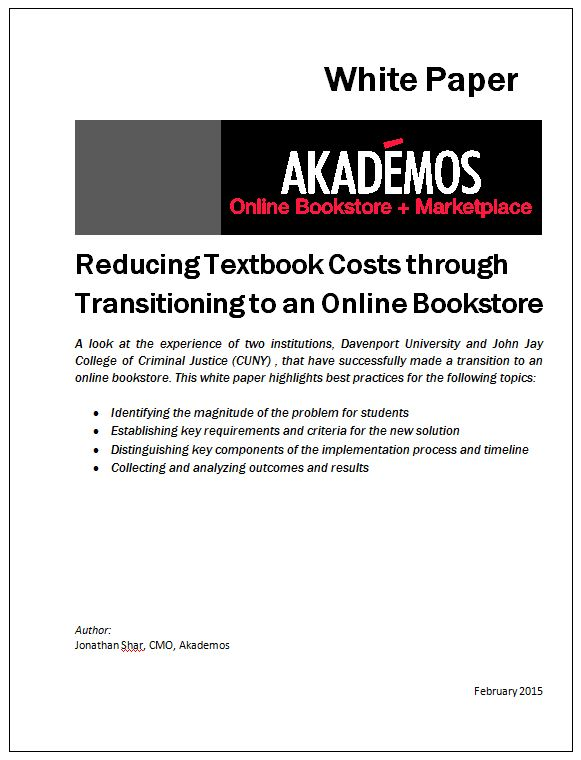 Reducing Textbook Costs Through an Online Bookstore